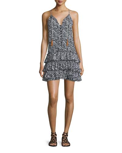 Delfine Printed Ruffled-Skirt Dress, Multi Colors