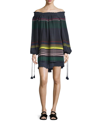 Sayulita Off-The-Shoulder Striped Dress, Night Lights Stripe