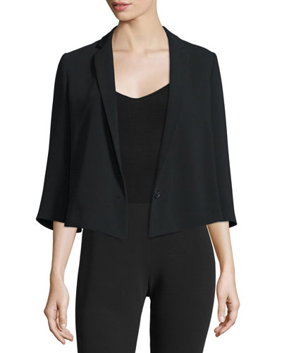 Claudine 3/4-Sleeve Short Jacket, Black