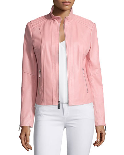 Stand-Collar Zip-Front Leather Jacket, Watermelon
