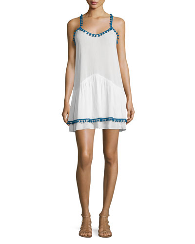 Milla Dress W/Pompom Trim, Ivory/Blue