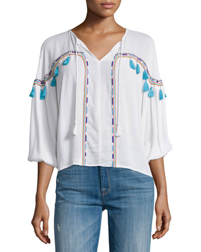 Bacoor Embroidered Blouson Top, White