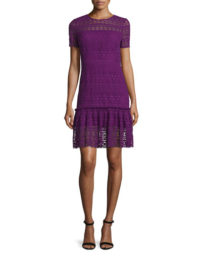 Jacey Lace Short-Sleeve Dress, Garnet