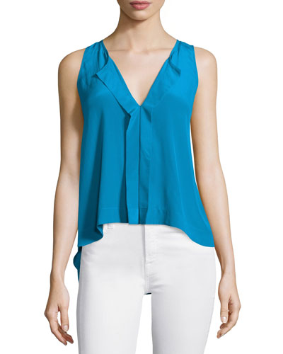 Jewel Sleeveless Silk Top, Blue