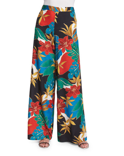 Elinor Floral Wide-Leg Pants, Multicolor