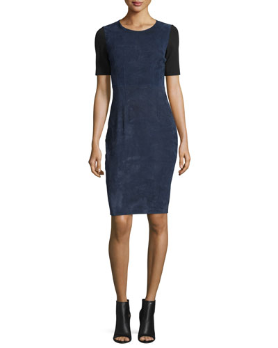 Emily Colorblock Combo Sheath Dress, Blue Navy