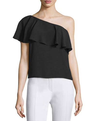 Zoe One-Shoulder Ruffle Top, Black