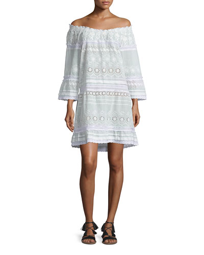 Junomia Off-The-Shoulder Eyelet Dress, White