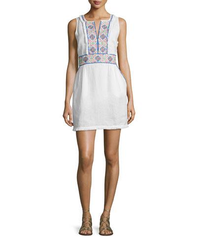 Gamasa Sleeveless Embroidered Dress, White