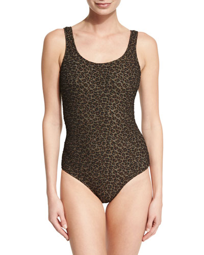 Textured Leopard-Print One-Piece Swimsuit