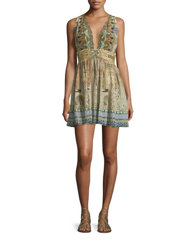 Sleeveless Embellished Mini Dress, Granada Dream