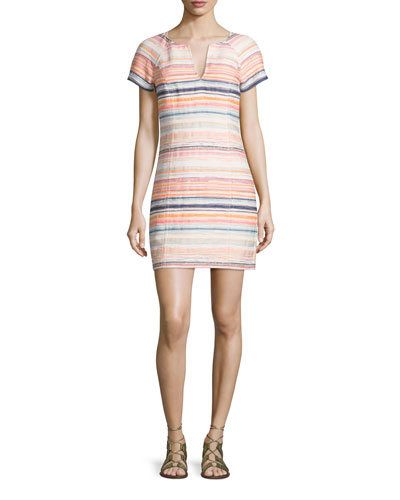 Short-Sleeve Split-Neck Striped Sheath Dress