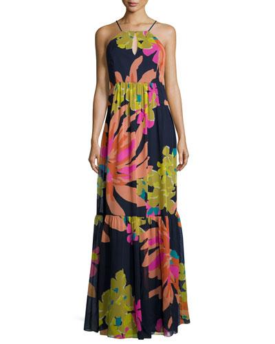 Halter Floral-Print Maxi Dress
