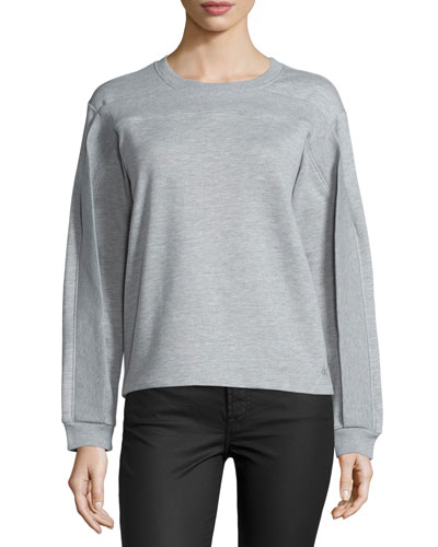 Twisted-Seam Long-Sleeve Pullover, Melange Gray