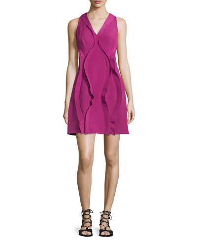 Cody Sleeveless Twist-Ruffle Dress, Raspberry