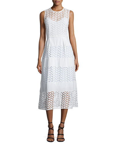 Sleeveless Crewneck Tiered A-Line Dress, White