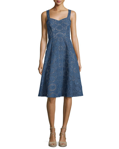Chambray Sleeveless Eyelet Dress, Denim