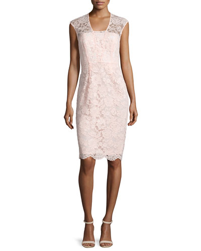 Lace Cap-Sleeve Sheath Dress, Blush