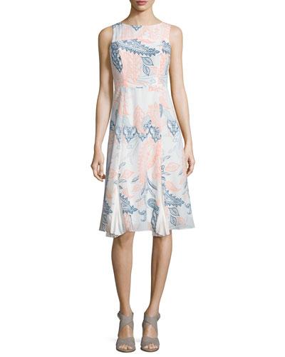 Sleeveless Paisley-Print Boat-Neck Dress, Apricot/Multi