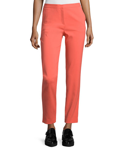 Janette Slim-Leg Ankle Trousers, Coral