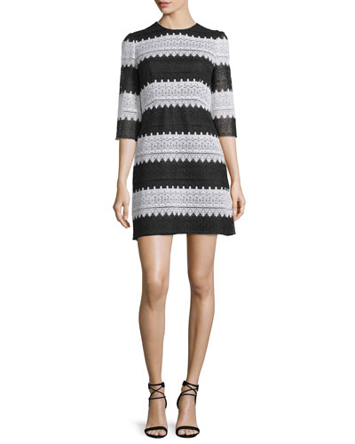 3/4-Sleeve Striped Lace Dress