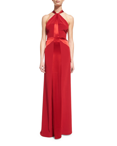 Halter Satin-Strip Gown