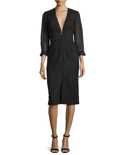 3/4-Sleeve Lace Button-Front Sheath Cocktail Dress