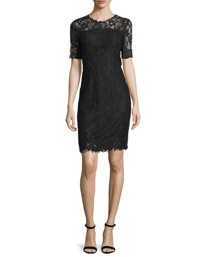 Bellamy Lace Long-Sleeve Dress, Black