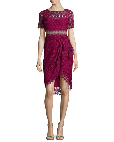 Short-Sleeve Lace Faux-Wrap Illusion Dress