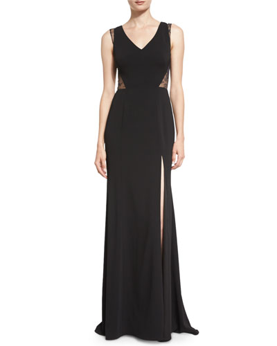 Sleeveless Lace-Inset Column Gown, Black