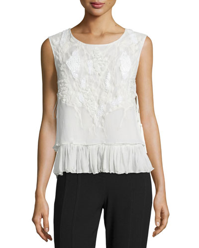 Carlyn Sleeveless Silk Chiffon Blouse w/ Bead Trim