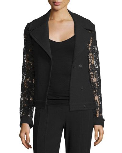 Dena Lace & Crepe Combo Pea Coat, Black