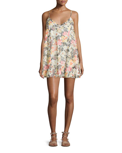 Idris Sleeveless Floral-Print Shift Dress, Multi
