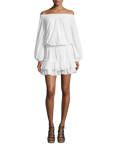 Kenji Off-The-Shoulder Blouson Dress, White