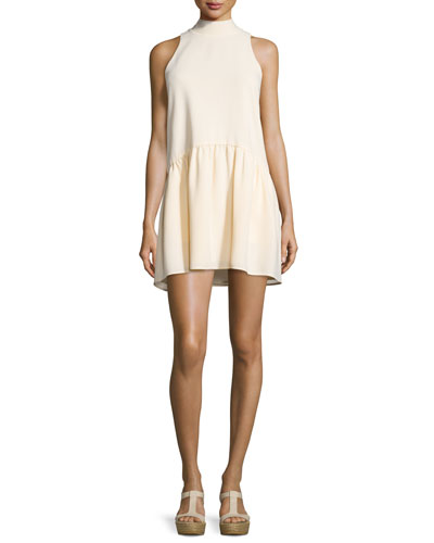 Trisha Sleeveless Mock-Neck Mini Dress, Almond