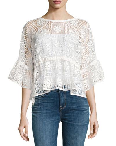 Sarissa Half-Sleeve Macrame Top, Ivory