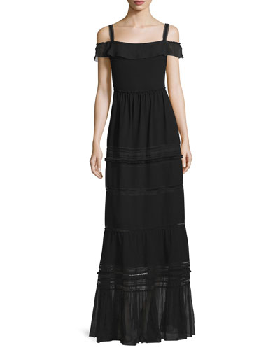 Flora Off-the-Shoulder Tiered Maxi Dress, Black