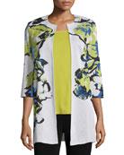 Misook Petite Floral-Knit Long Jacket, Multi Colors