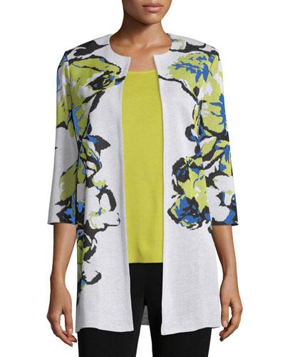 Petite Floral-Knit Long Jacket, Multi Colors