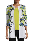 Misook Plus Size Floral-Knit Long Jacket, Multi Colors