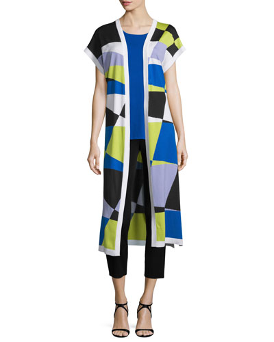 Short-Sleeve Graphic Duster Coat, Periwinkle/Blue, Plus Size