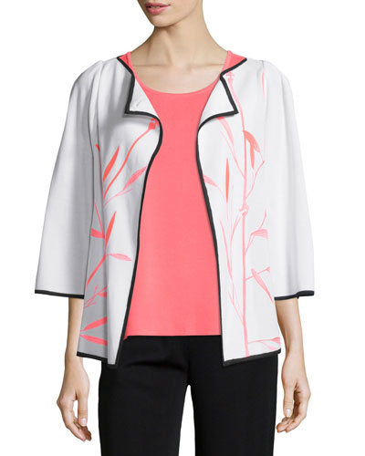 Bamboo-Print 3/4-Sleeve Jacket, Plus Size