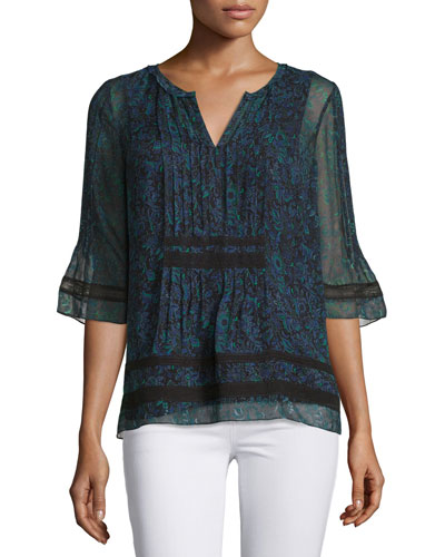 Chantal Half-Sleeve Printed Crinkle-Chiffon Blouse, Cricket