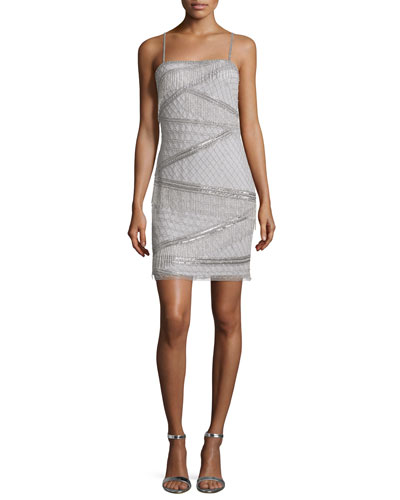 Sleeveless Beaded Cocktail Dress, Silver