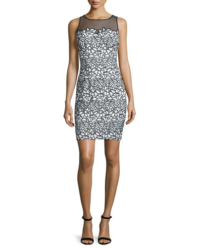 Sleeveless Lace Combo Cocktail Dress, Black/Ivory