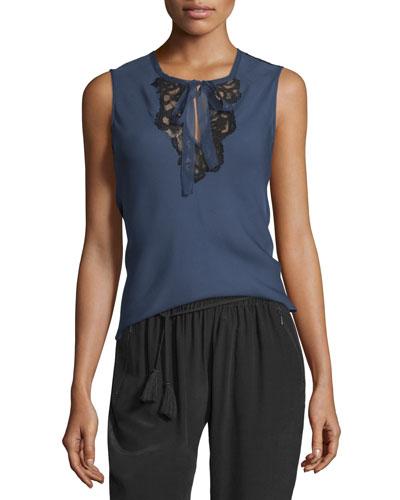Shoshanna Sleeveless Silk Blouse w/ Lace Insets, Marine