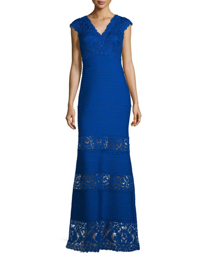 Cap-Sleeve Pintucked Lace-Panel Gown