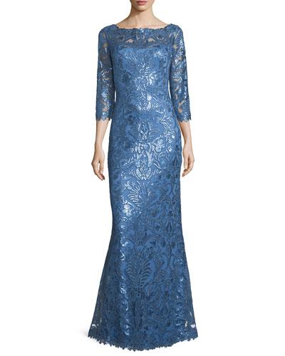 3/4-Sleeve Floral Paillette Lace Gown