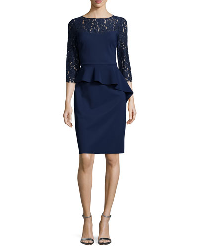 Lace-Sleeve Peplum Cocktail Dress, Navy