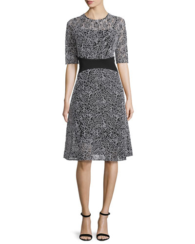 Embroidered-Mesh Half-Sleeve Cocktail Dress, Black/White